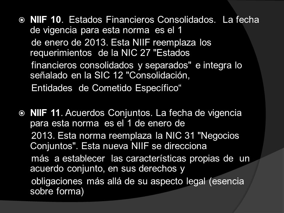 NIIF 10. Estados Financieros Consolidados