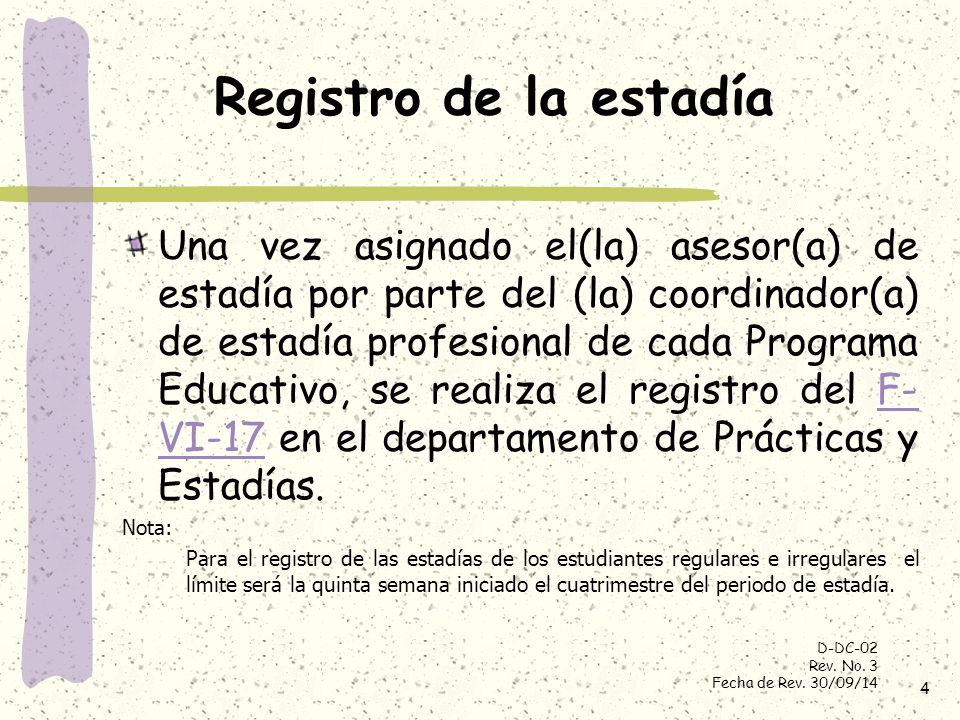 Registro de la estadía