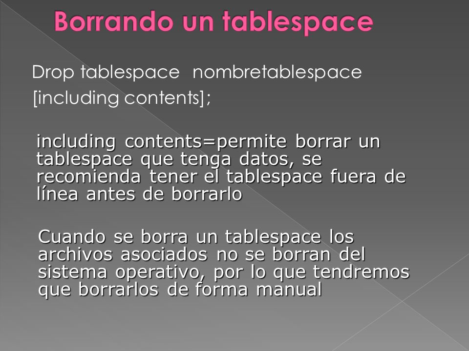 Borrando un tablespace