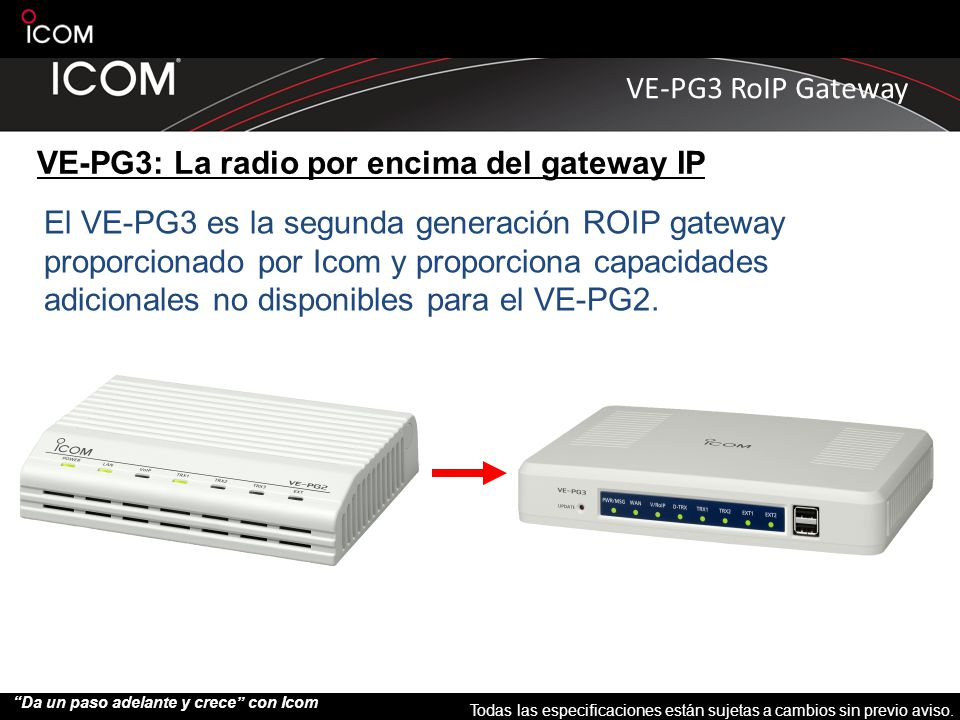 VE-PG3: La radio por encima del gateway IP
