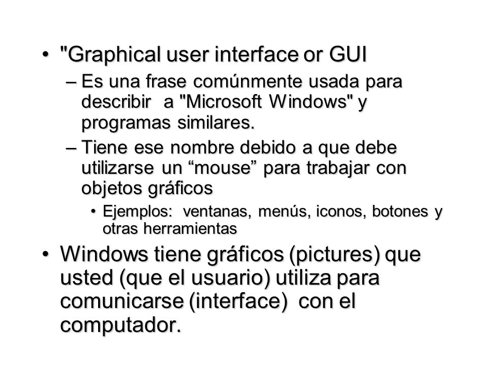 Graphical user interface or GUI