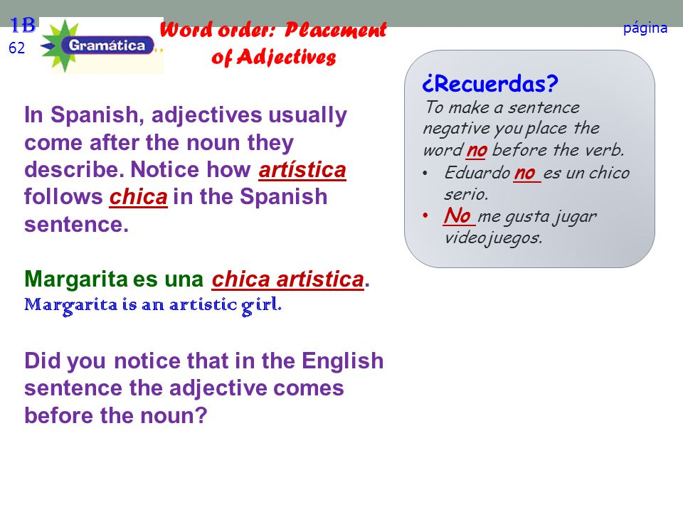 Word order: Placement of Adjectives