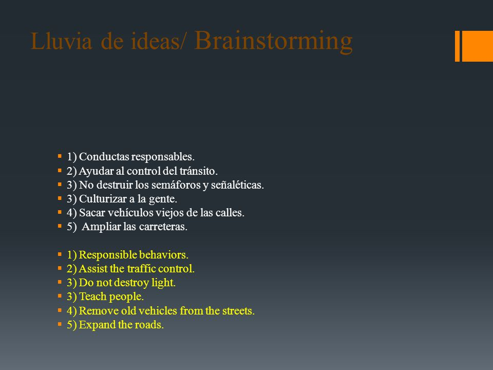 Lluvia de ideas/ Brainstorming