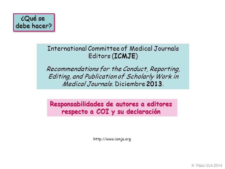 International Committee of Medical Journals Editors (ICMJE)