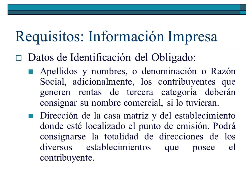 Requisitos: Información Impresa