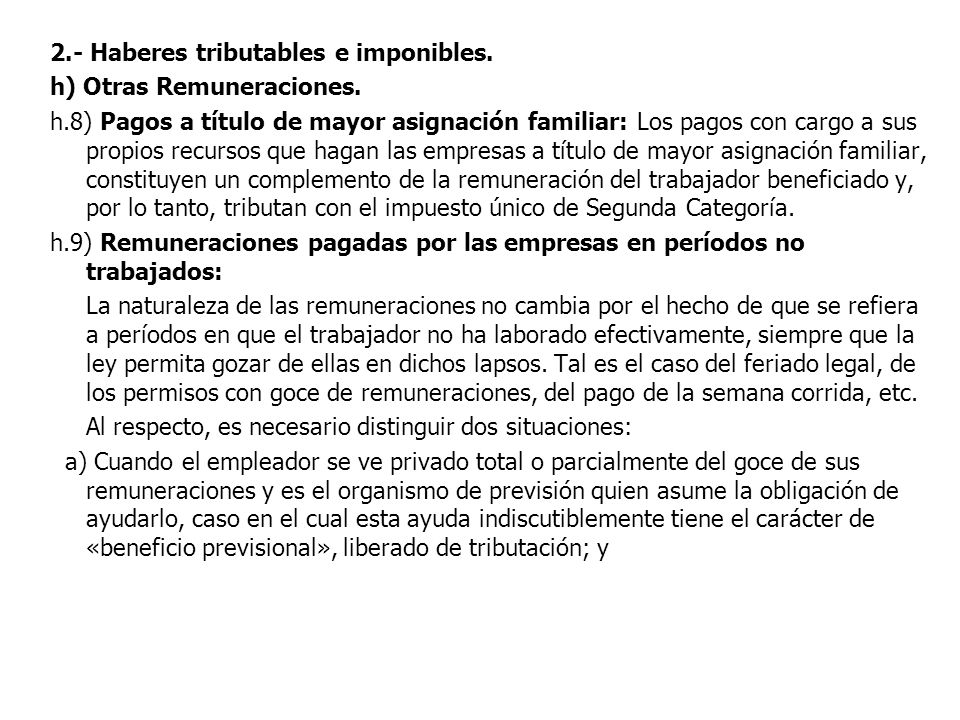 2.- Haberes tributables e imponibles.