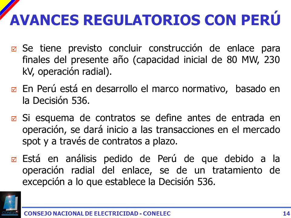 AVANCES REGULATORIOS CON PERÚ