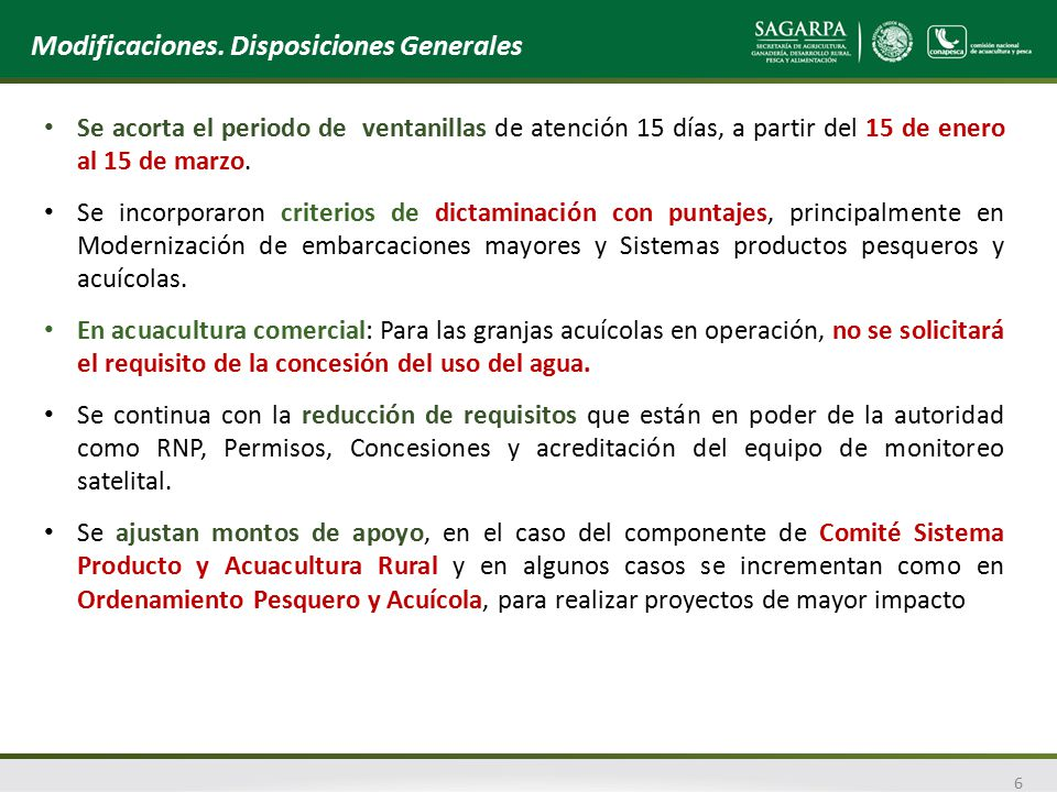 Modificaciones. Disposiciones Generales
