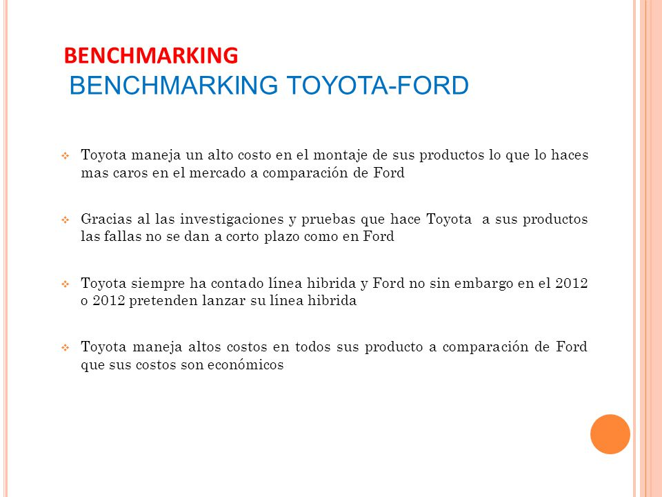 BENCHMARKING BENCHMARKING TOYOTA-FORD