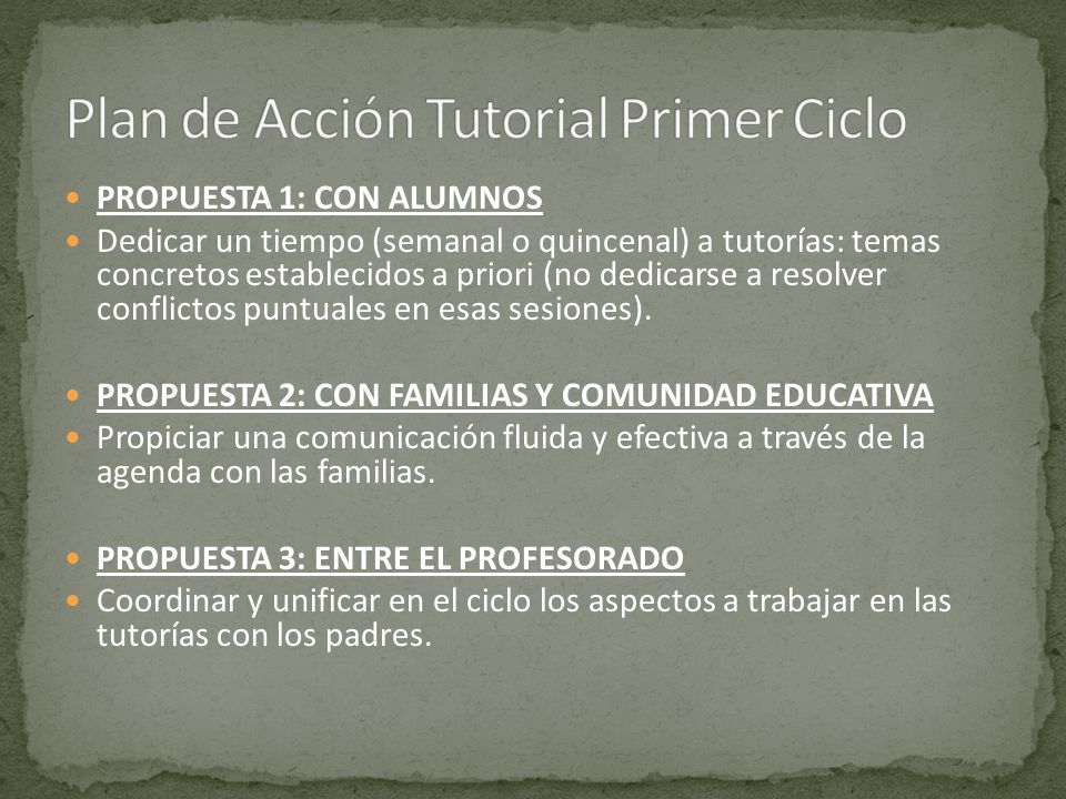 Plan de Acción Tutorial Primer Ciclo
