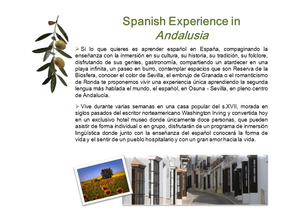 Spanish Experience in Andalusia