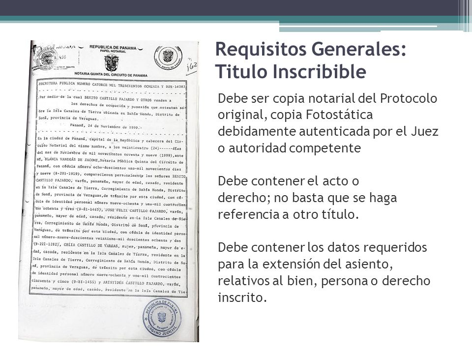 Requisitos Generales: Titulo Inscribible