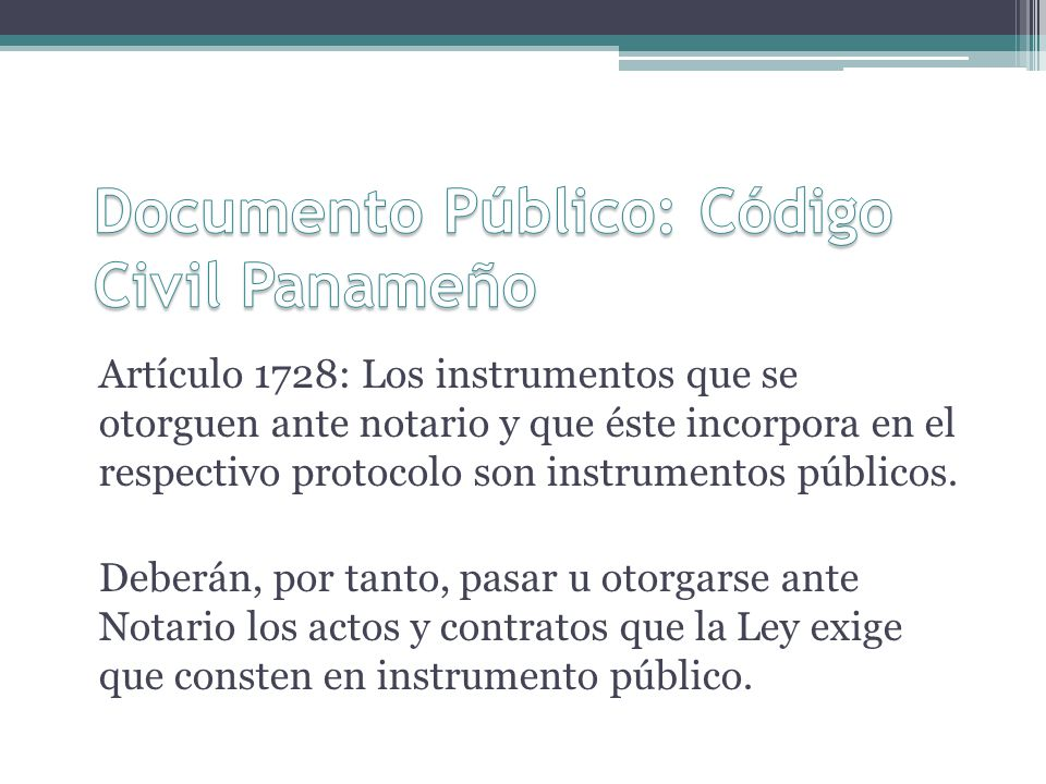 Documento Público: Código Civil Panameño