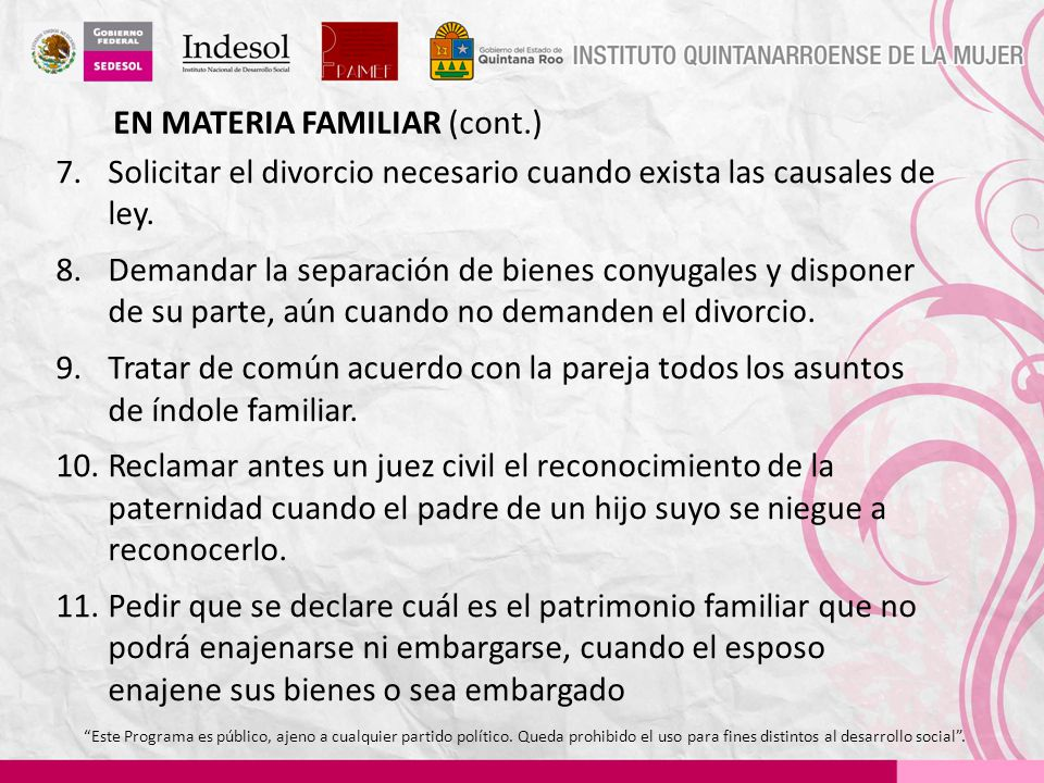 EN MATERIA FAMILIAR (cont.)
