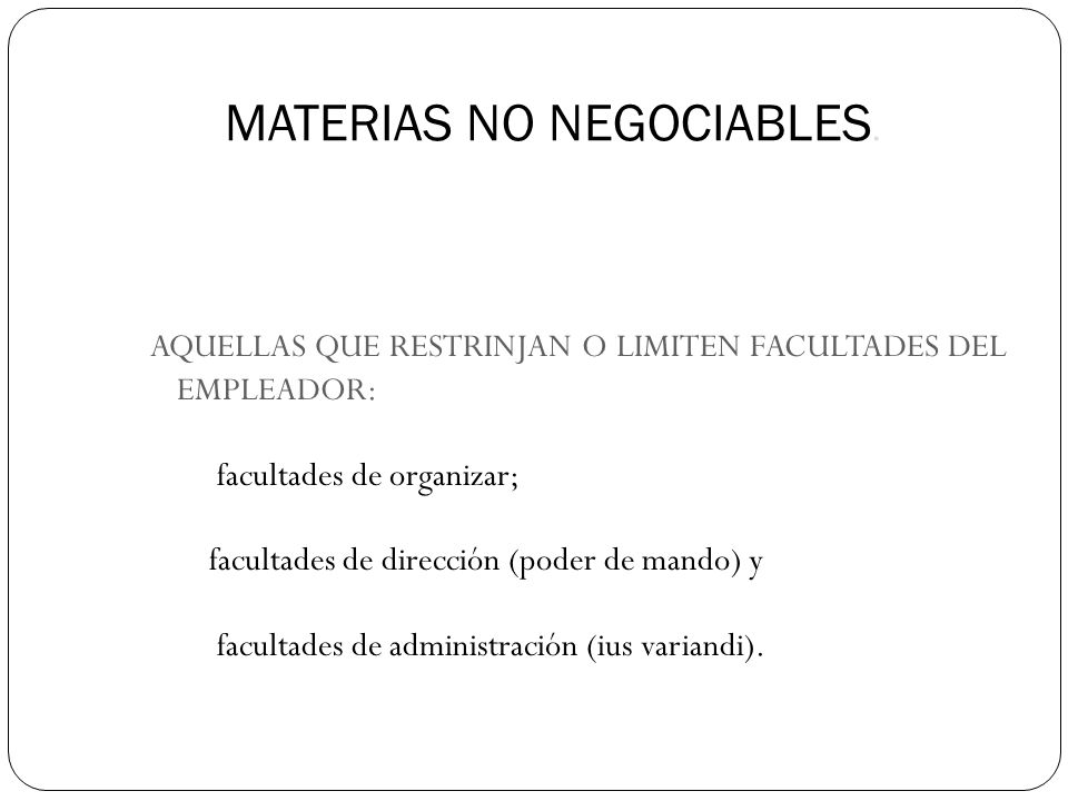 MATERIAS NO NEGOCIABLES.