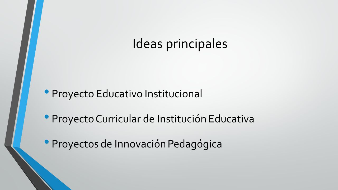 Ideas principales Proyecto Educativo Institucional