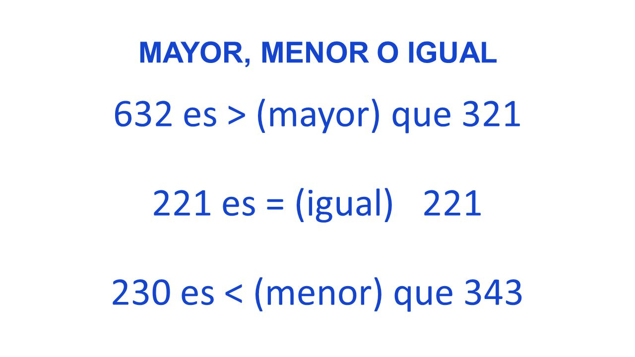 MAYOR, MENOR O IGUAL 632 es > (mayor) que es = (igual) es < (menor) que 343