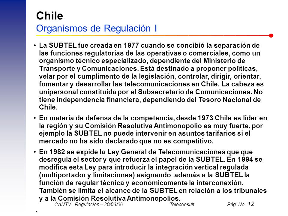 Chile Organismos de Regulación I