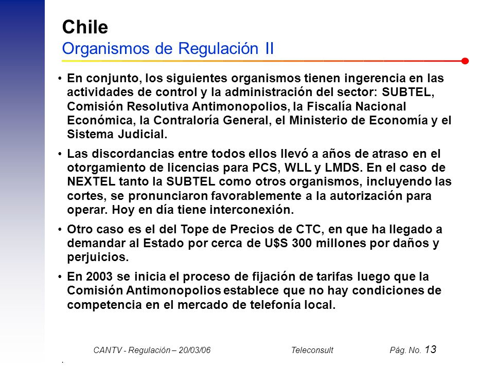 Chile Organismos de Regulación II