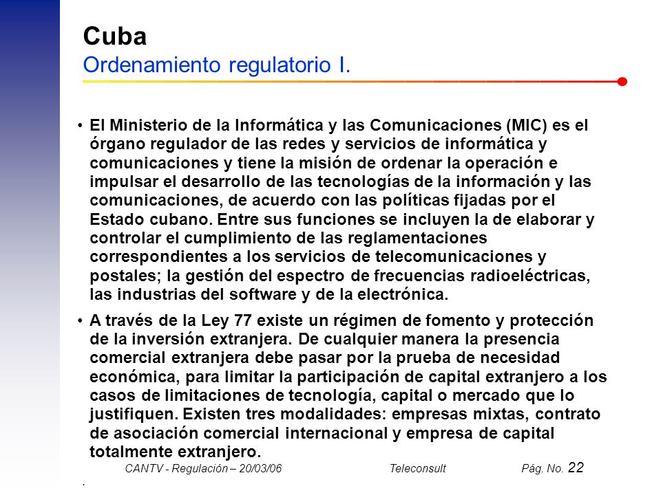 Cuba Ordenamiento regulatorio I.