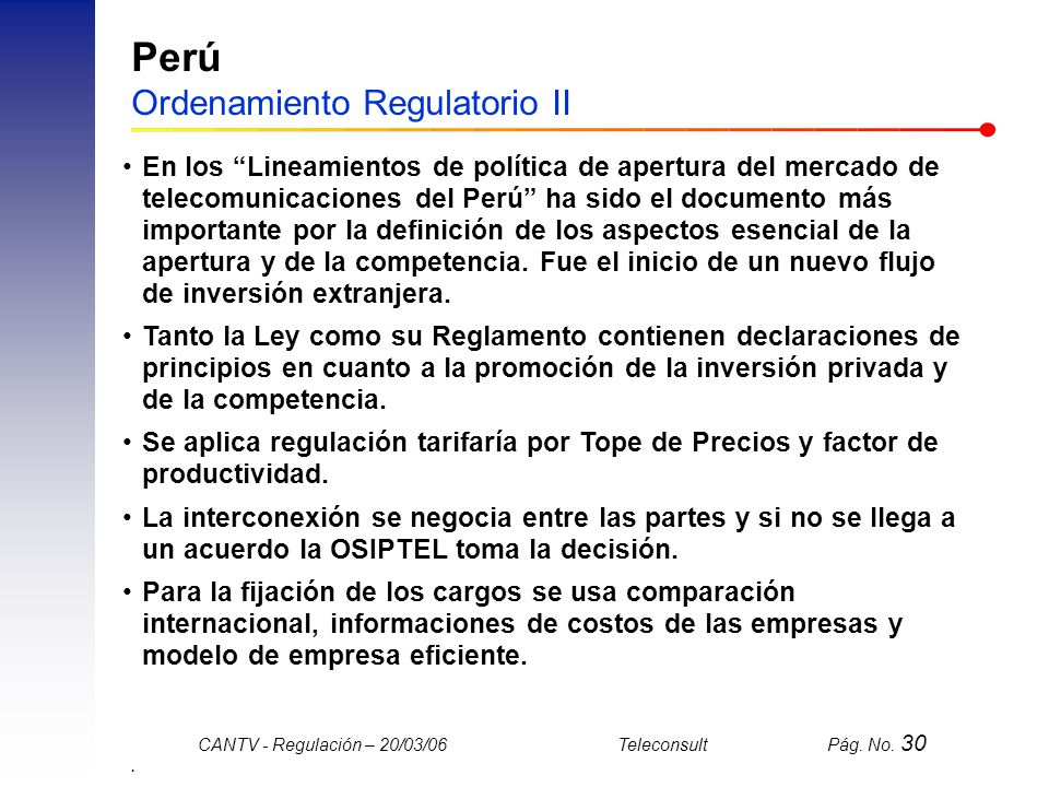 Perú Ordenamiento Regulatorio II