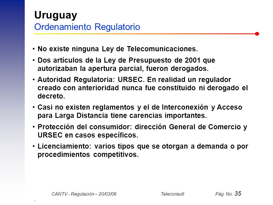 Uruguay Ordenamiento Regulatorio
