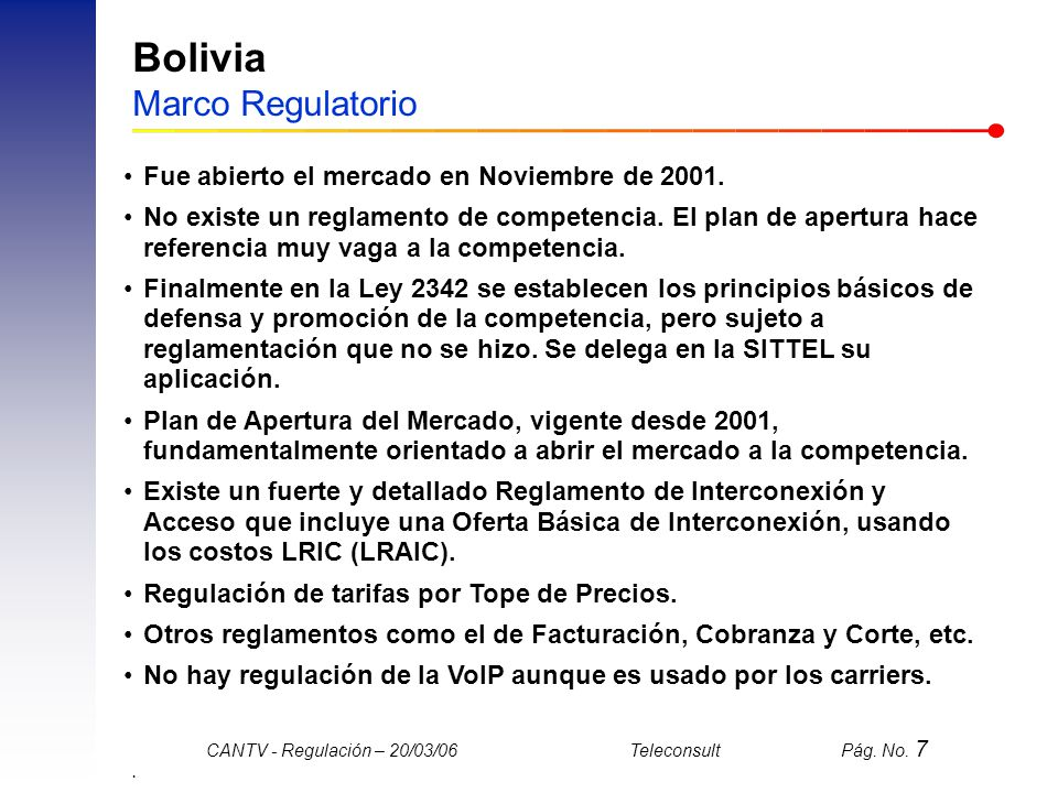 Bolivia Marco Regulatorio