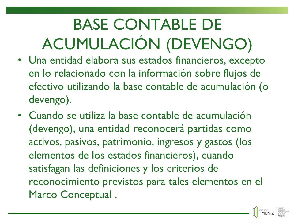 BASE CONTABLE DE ACUMULACIÓN (DEVENGO)