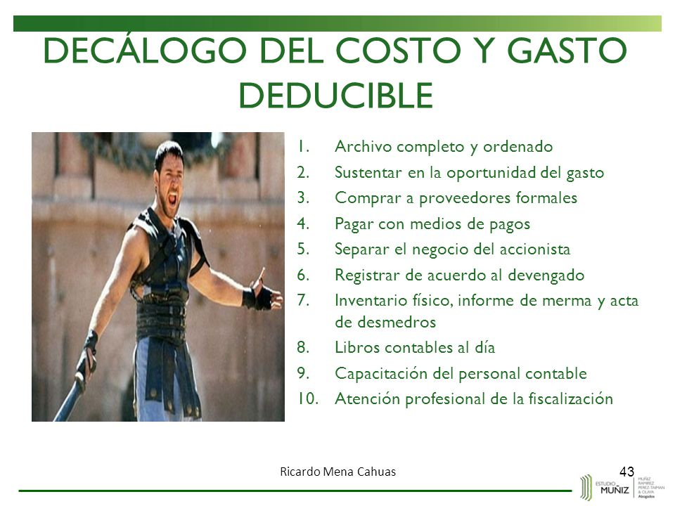 DECÁLOGO DEL COSTO Y GASTO DEDUCIBLE