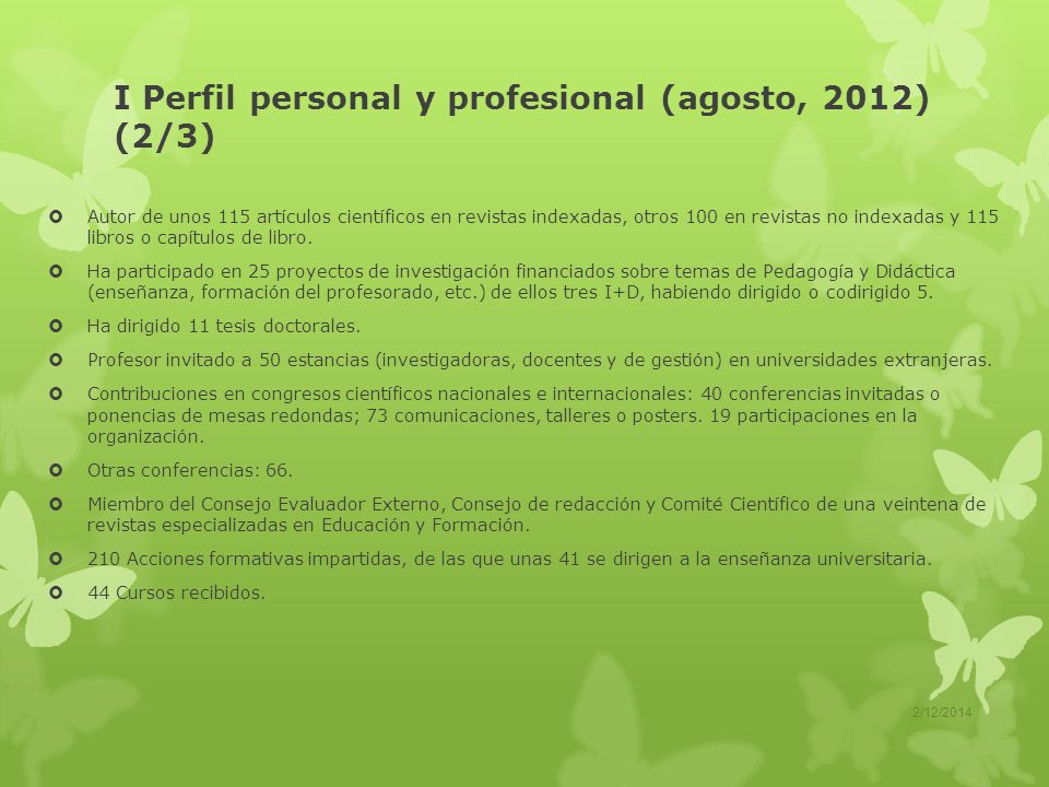 I Perfil personal y profesional (agosto, 2012) (2/3)
