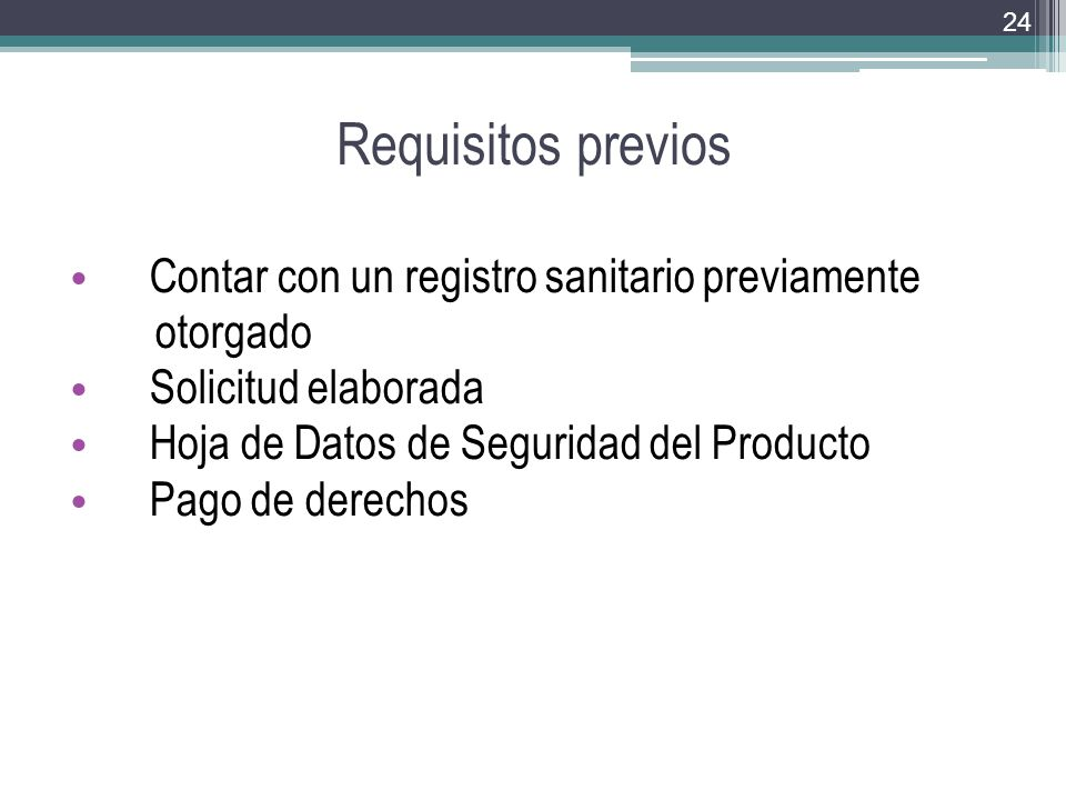 Requisitos previos Contar con un registro sanitario previamente