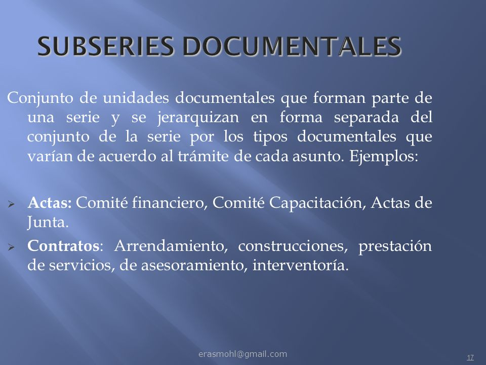 SUBSERIES DOCUMENTALES