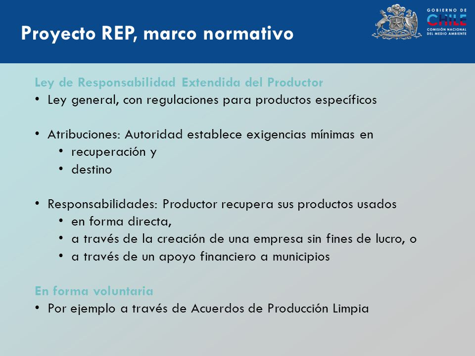 Marco regulatorio Proyecto REP, marco normativo