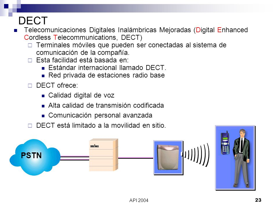 DECT Telecomunicaciones Digitales Inalámbricas Mejoradas (Digital Enhanced Cordless Telecommunications, DECT)