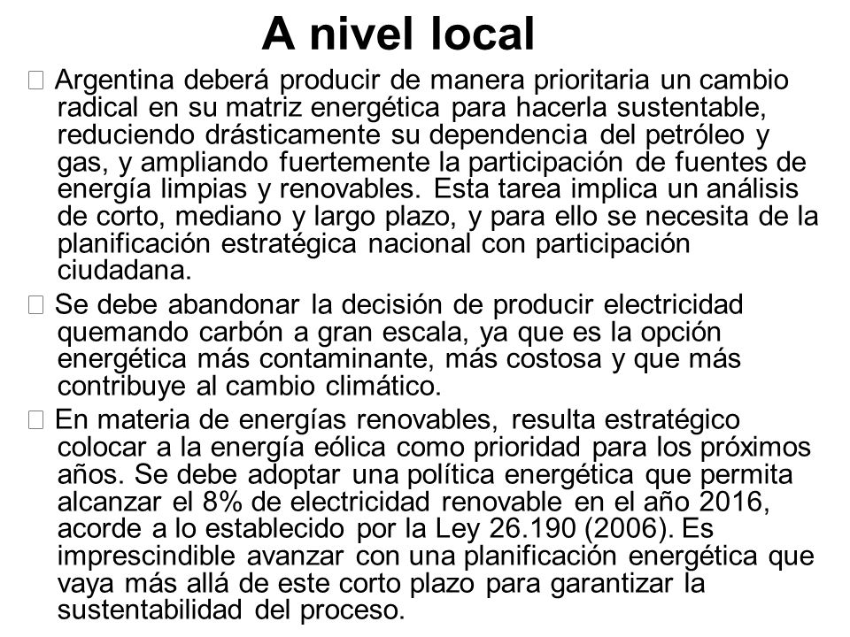 A nivel local