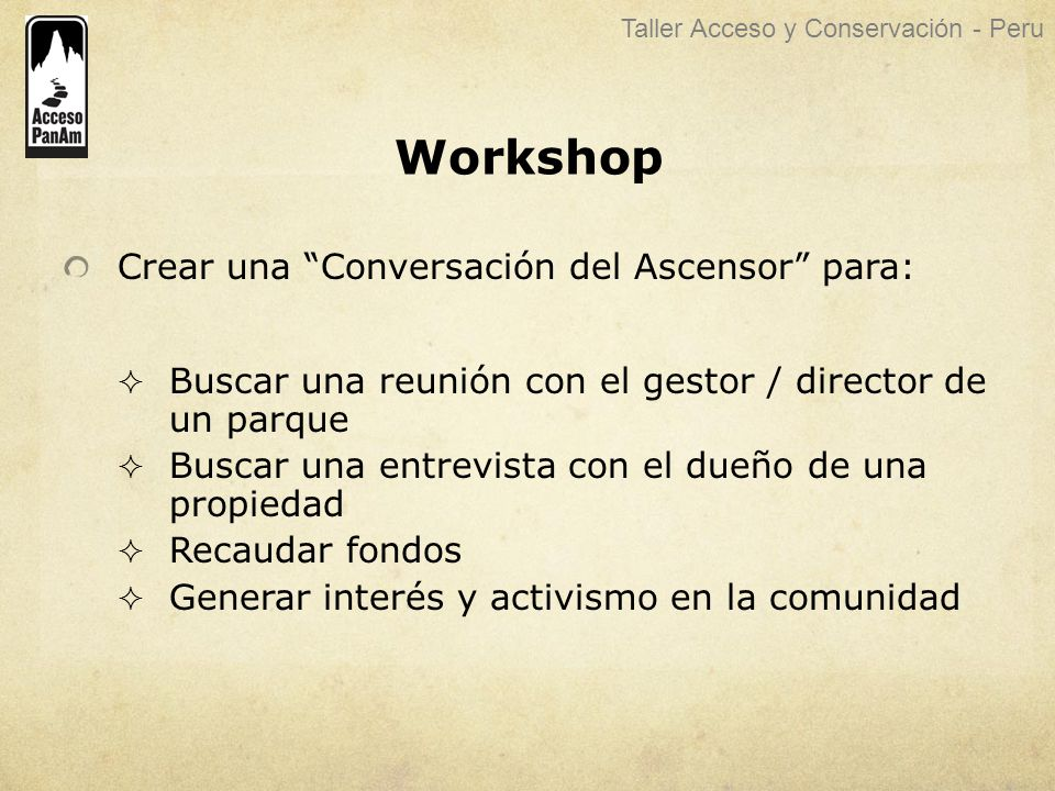 Workshop Crear una Conversación del Ascensor para: