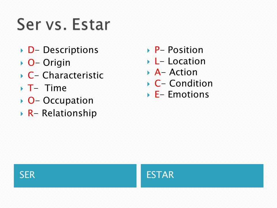 Ser vs. Estar D- Descriptions O- Origin C- Characteristic T- Time