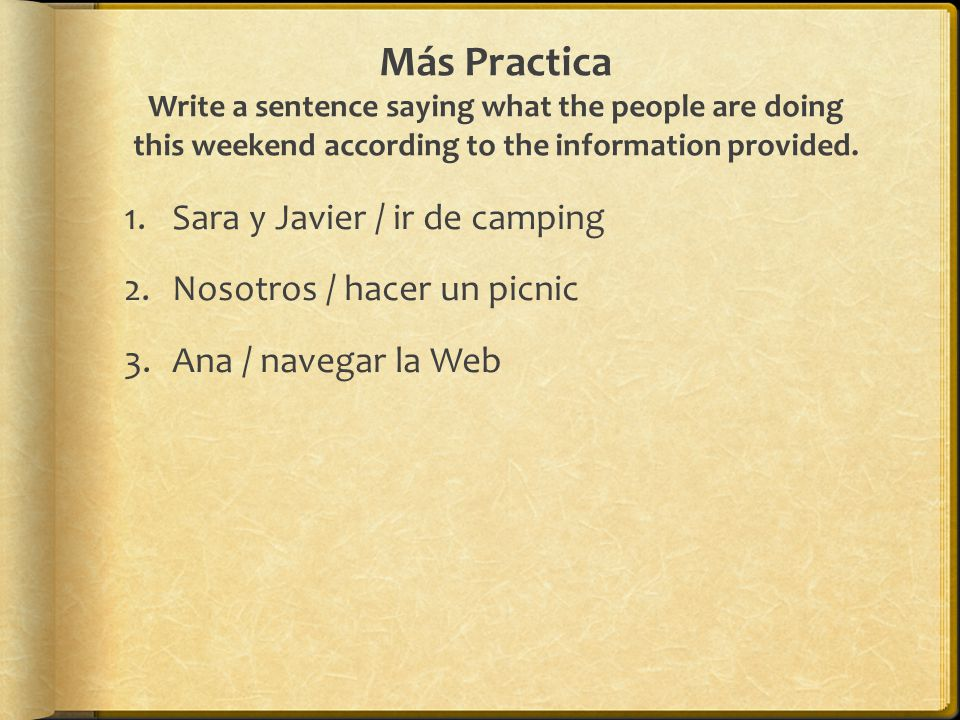 Más Practica Write a sentence saying what the people are doing this weekend according to the information provided.
