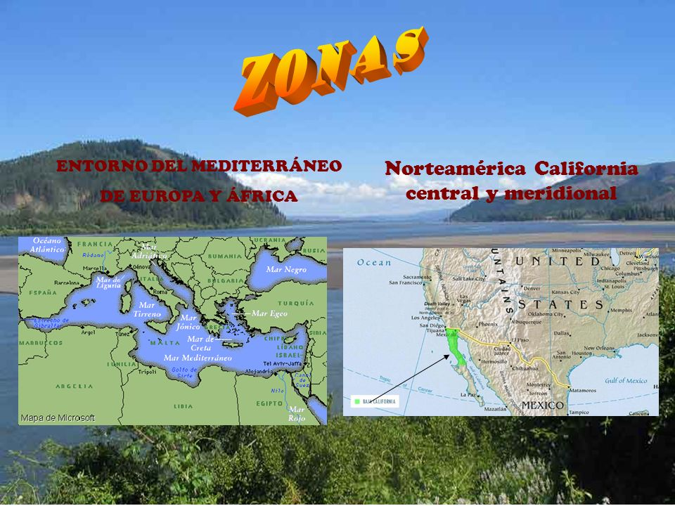 ZONAS Norteamérica California central y meridional