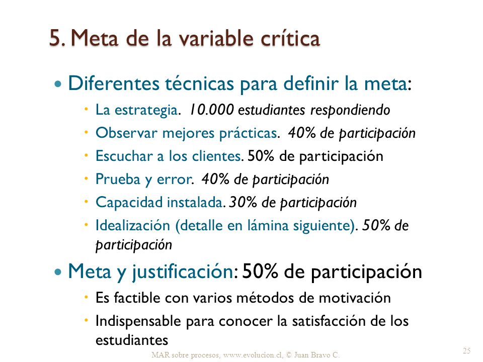 5. Meta de la variable crítica