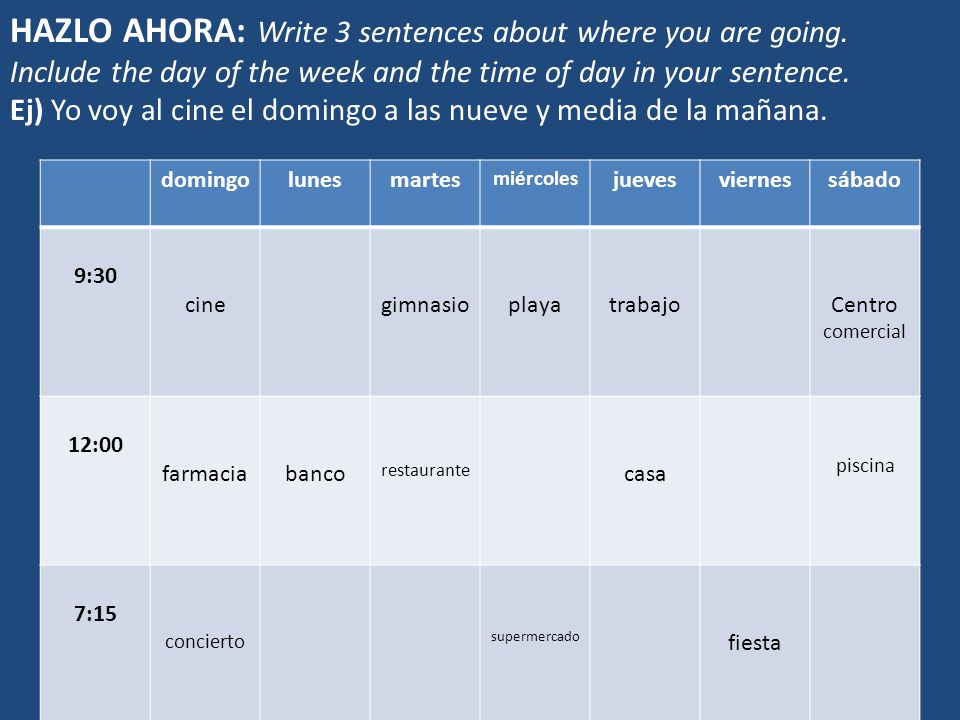 HAZLO AHORA: Write 3 sentences about where you are going