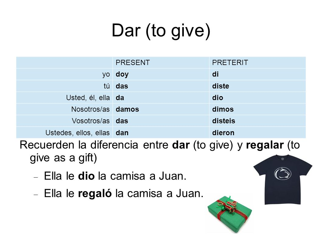 Dar (to give) Recuerden la diferencia entre dar (to give) y regalar (to give as a gift) Ella le dio la camisa a Juan.