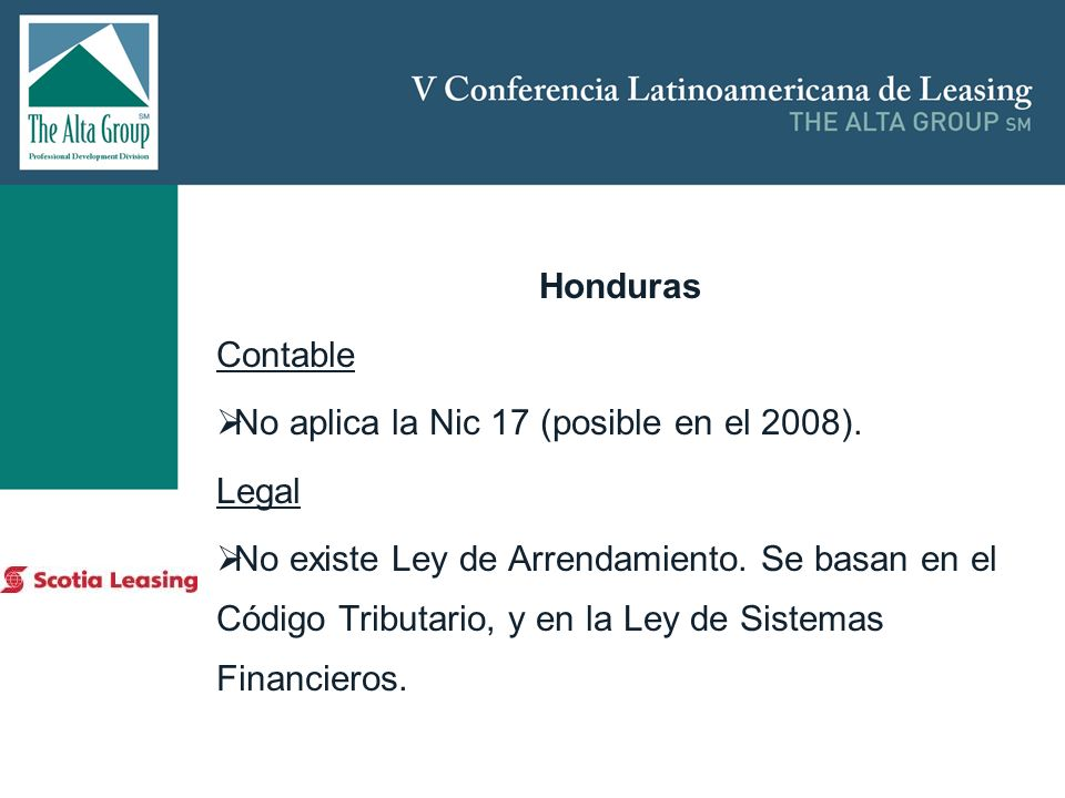 No aplica la Nic 17 (posible en el 2008). Legal