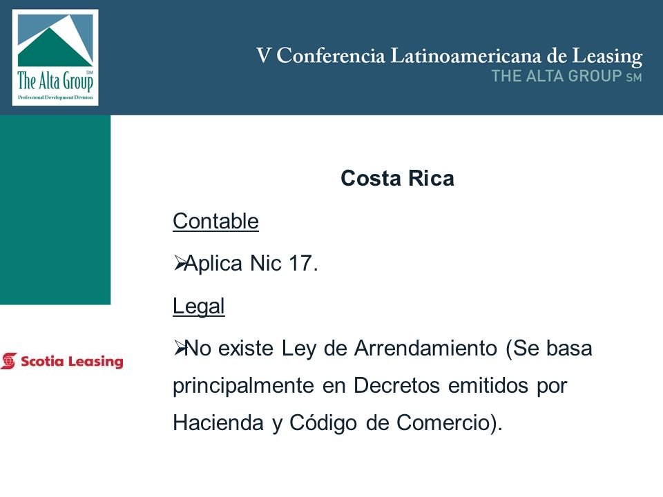 Costa Rica Contable Aplica Nic 17. Legal