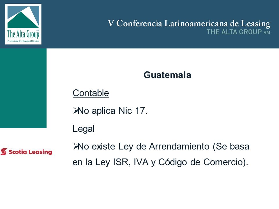 Guatemala Contable No aplica Nic 17. Legal