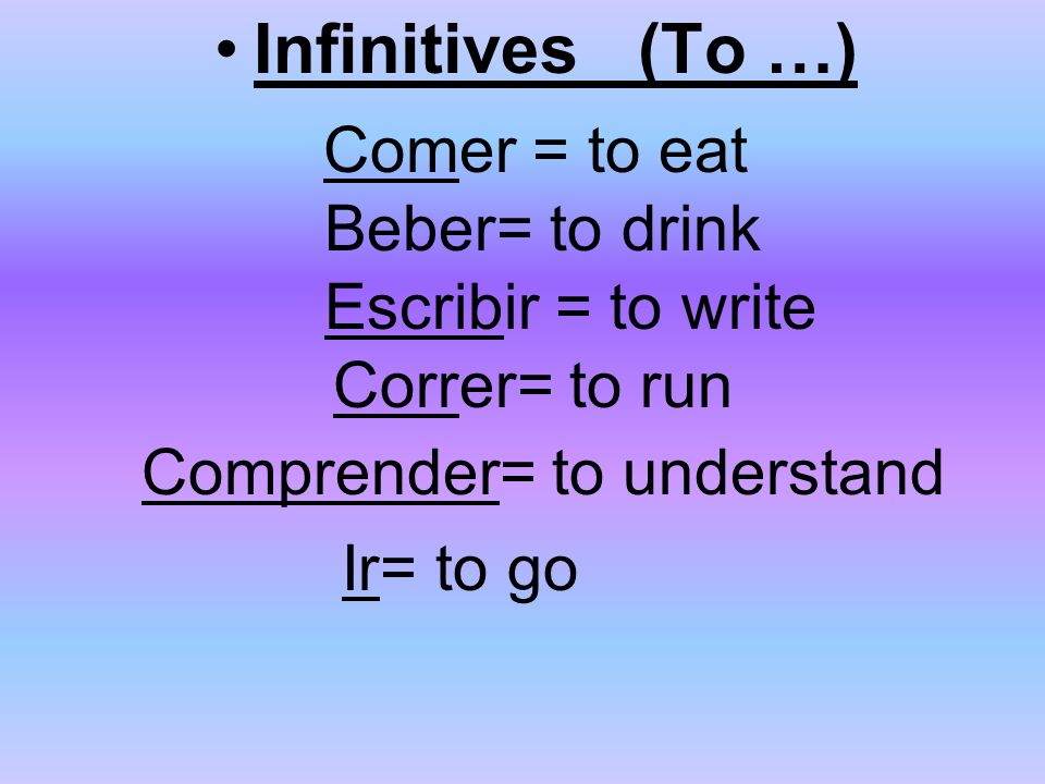 Infinitives (To …) Comer = to eat Beber= to drink Escribir = to write