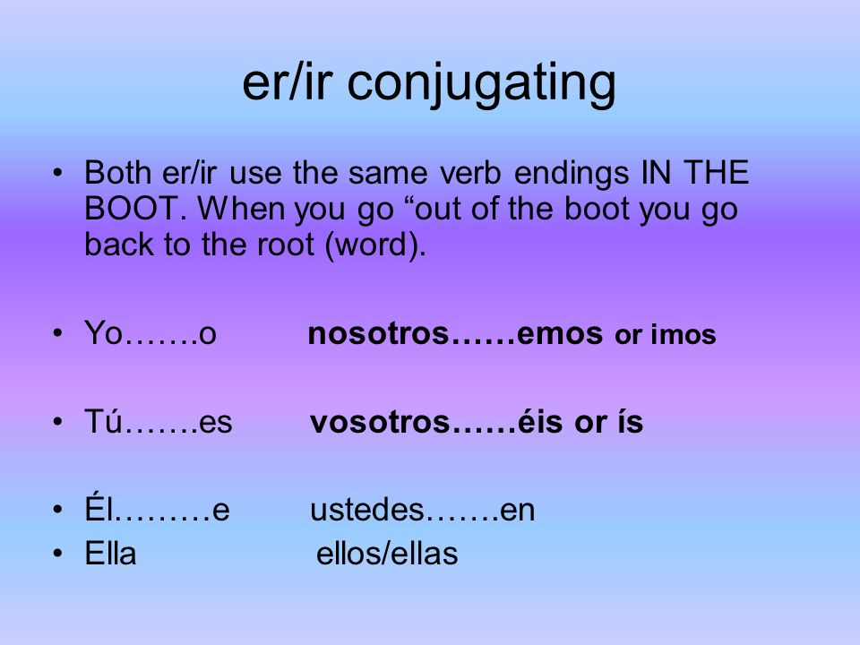 er/ir conjugating Both er/ir use the same verb endings IN THE BOOT. When you go out of the boot you go back to the root (word).