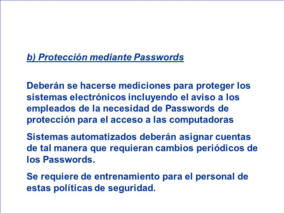 b) Protección mediante Passwords