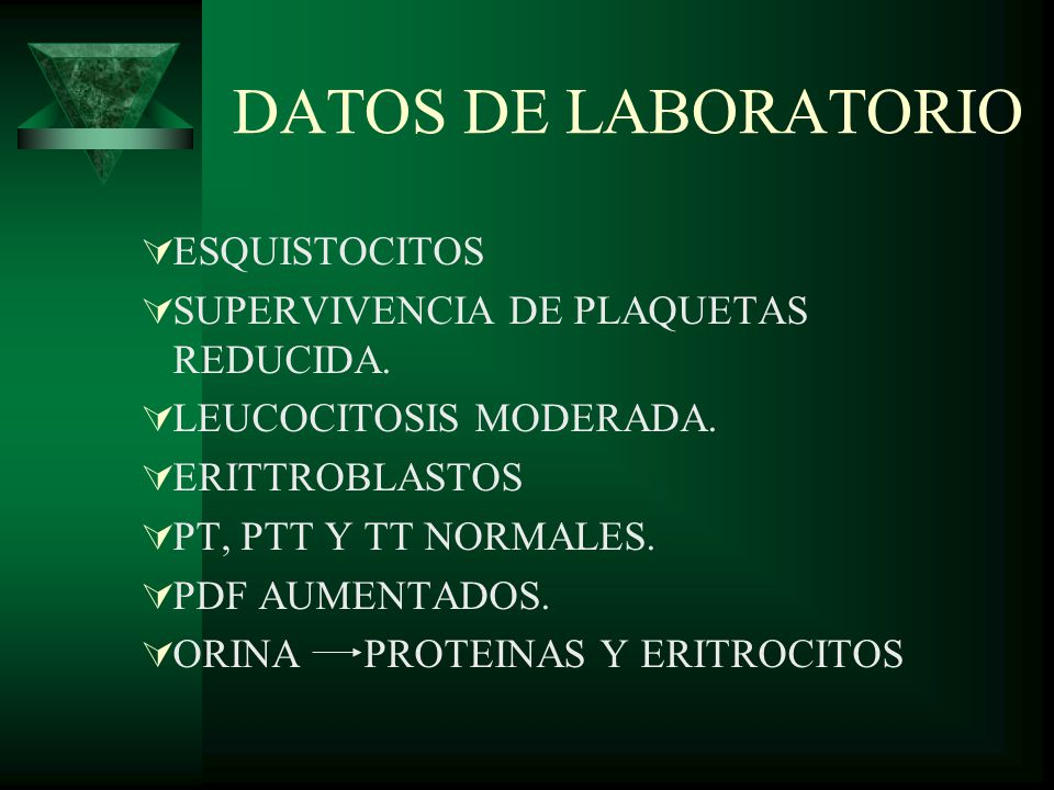 DATOS DE LABORATORIO ESQUISTOCITOS