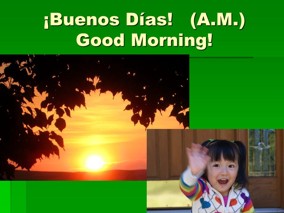 ¡Buenos Días! (A.M.) Good Morning!